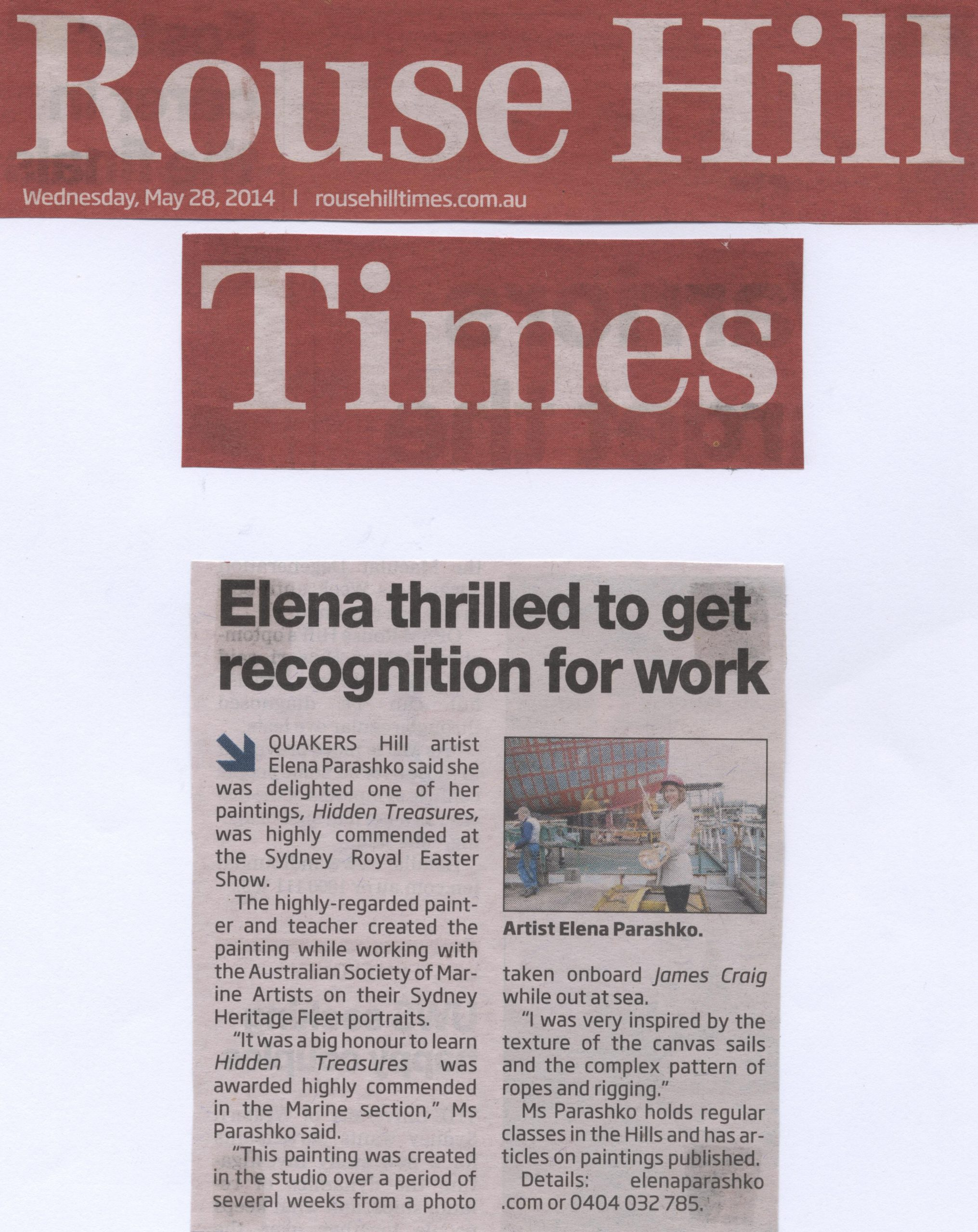 Elena thrilled to get recognition for work